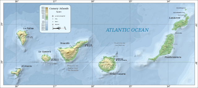 Kanarieöarna Topografisk